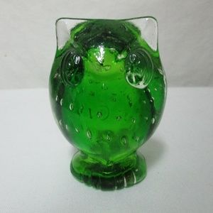 Vintage Bubble Glass Owl Paperweight Japan 1970's